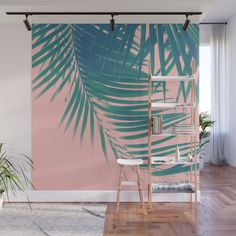 Palm Leaves Blush Summer Vibes Wall Mural by Anita's & Bella's Art - X Tropical Decor, Fabric Panels, Second Floor, Summer Vibes, Wall Murals, Palm, Vibrant Colors, Wall Decor, Leaves