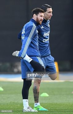 Lionel Messi and Angel Di Maria of Argentin stretch during an Argentina Training Session at City Football Academy on June 2017 in Melbourne, Australia. Messi 10, Lionel Messi, Melbourne Australia, Model Trains, Make Me Smile, Leo, June, Soccer, Training