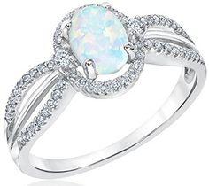 Australian Opal and Diamond Ring in 10K White Gold