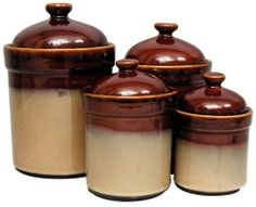 Sango Nova Brown Canisters Set Of 4 By 43 49 Microwave And Dishwasher