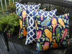 "Amazon.com - Set of 4 Pillow Covers - 20"" In / Outdoor Ash Hill Bird in Blue & Geometic Navy White -"