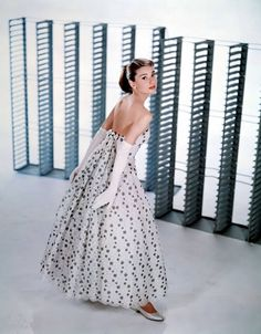 Audrey Hepburn in a dress designed by Edith Head.