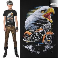 Mens Black Eagle Print Cyber Punk Motorcycle Biker Fashion T Shirts SKU-11409184