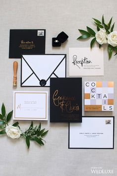 This stationery is giving us such 'cool girl' vibes! | WedLuxe #Stationary #StationarySuite #Black #Gold #White #Modern #Calligraphy #Custom #Invitations #Wedding #WeddingInspo