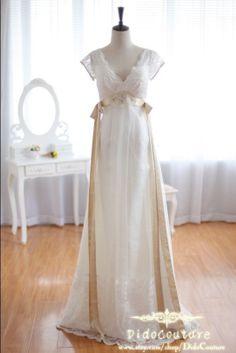 Romantic Vneck Short Sleeves Beach Wedding van DidoCouture op Etsy, $189.00