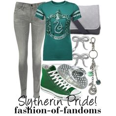 """""""Slytherin Pride"""" by waveyourwands97 on Polyvore. Harry Potter fashion."""