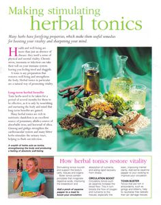 The Complete Guide to Natural Healing by Kathy Keville-Making stimulating herbal tonics Holistic Remedies, Natural Health Remedies, Herbal Remedies, Healing Herbs, Medicinal Herbs, Natural Healing, Herbal Tinctures, Herbalism, Natural Medicine
