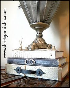 Add an old handle to some vintage books to spice up a table!