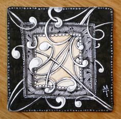 Zentangle by Maria Thomas, Zentangle Co-Founder Doodle Art, Tangle Doodle, Tangle Art, Zen Doodle, Doodle Drawings, Doodles Zentangles, Zentangle Patterns, Doodle Inspiration, Zen Art