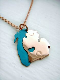 Copper Lake MIchigan and Michigan State Pendant. This would be cute if you can personalize where the heart goes