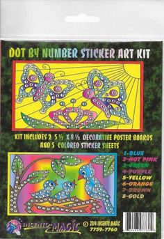 #7759-7760S Butterfly-Bird Dot Art. This Package includes 2- 5 3/4 x 8 1/2 Backers and corresponding dots.