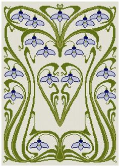 Art Nouveau Snow Drop Cross stitch pattern PDF on Etsy, $6.53 AUD