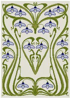 Art Nouveau Snow Drop Cross stitch pattern PDF on Etsy, $6.53 AUD