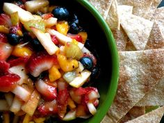 Fruit Salsa with Cinnamon Sugar Chips. Want! Want! Want!