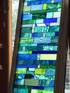 sea glass Stained glass Custom order in Vintage window stained glass panel. $600.00, via Etsy. by Susan Koop