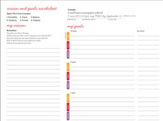 lululemon's goal setting worksheet