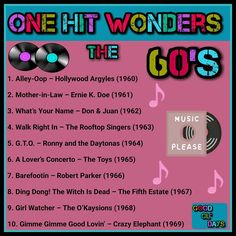 One hit wonders 60s Music, Music Hits, Vinyl Music, Music Lyrics, One Hit Wonder, Don Juan, Memories Quotes, What Is Your Name, Song List