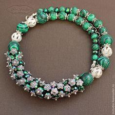 Купить Колье из малахита Первоцветы - украшения ручной работы, авторская ручная работа, натуральные камни