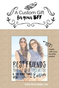 best friend gift ideas, A tribute to the bond only best friends understand, this print features your own favorite photo of you and your BFF. best friend birthday gift, BBF gift ideas, best friend present