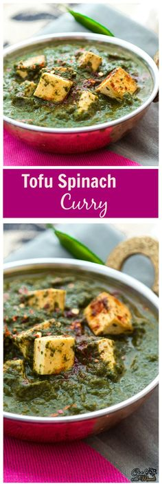 Pan-fried tofu cooked in a spicy spinach curry. Find the recipe on www.cookwithmanali.com
