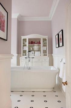 sarah richardson sarah 101 ensuite pink black white freestanding tub