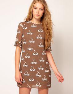ASOS Sugarhill Boutique Chiffon Kissing Swans Shift Dress