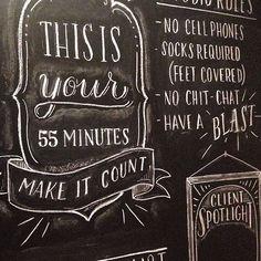 Pure Barre Chalkboard Wall by Clara Cline, via Behance