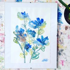 Blue Abstract Original Watercolour Artwork Floral by SCSArtGallery