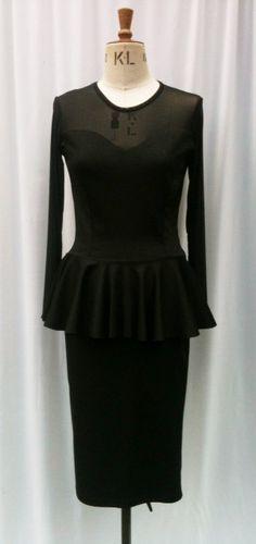 Baylis & Knight Black Sheer Sweetheart PEPLUM by BaylisandKnight Pencil Dress, Peplum Dress, Low Cut Dresses, Pin Up, Ursula, Hourglass, Long Sleeve, Knight, Skirts