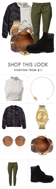 """""""Flower bomb let me guess your favorite fragrance"""" by carameldelightboo ❤ liked on Polyvore featuring Sw/Tch, H&M, Bulova, Louis Vuitton and Timberland"""