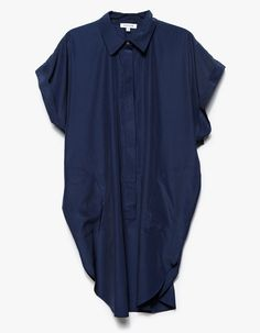From Stelen, a lightweight oversized shirt dress in Navy.  Features pointed collar, long button placket, concealed buttons, top button, short sleeves, capped sleeves, cuffed sleeves, on seam pockets, tall side slits, round hem, knee length and relaxed fit