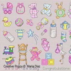 Maria Diaz - 36 Baby motifs zoom 1 (cross stitch chart)
