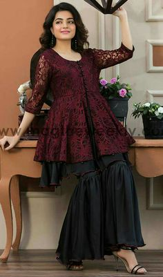 Pakistani Boutique Style Maroon Peplum with Black ghrara Stylish Dresses For Girls, Stylish Dress Designs, Designs For Dresses, Casual Summer Dresses, Girls Dresses, Eid Dresses, Pakistani Dresses Casual, Pakistani Dress Design, Pakistani Bridal