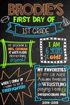 First Day of School Chalkboard Sign by MySunWillShineDesign