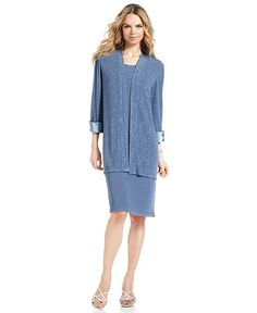 R Richards Dress and Jacket, Sleeveless Glitter Shift - Macy's/Slate