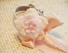 Pink Floral wedding dog collar Pink flower with by LADogStore, $38.50