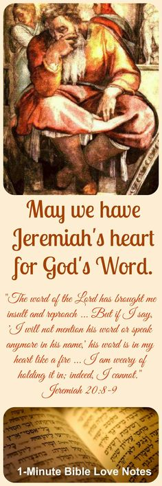 Jeremiah's love for God's Word, Jeremiah 20:8-9