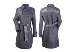 Basket weave trench coat, faux leather used as combo to highlight the details