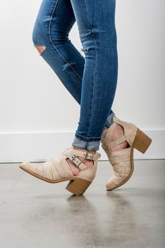 RubyClaire Boutique - The Jeanie Booties | Stone, $46.00 (https://www.rubyclaireboutique.com/the-jeanie-booties-stone/)