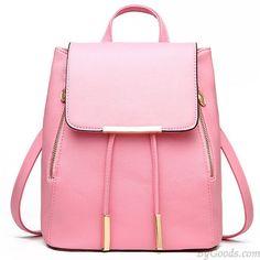 Elegant Pink Funky Lady Solid Simple Square PU Drawstring Hasp Satchel Backpack