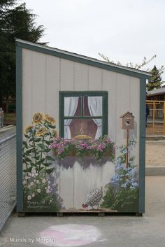 Amazing Shed Plans - Beautiful mural on the side of a storage shed via Morgan… Now You Can Build ANY Shed In A Weekend Even If You've Zero Woodworking Experience! Start building amazing sheds the easier way with a collection of shed plans! Outdoor Sheds, Outdoor Gardens, Backyard Sheds, Yard Art, Painted Shed, Painted Garden Sheds, Painted Fences, Garden Mural, Garden Fence Art