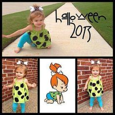 Adorable halloween costume for baby! Pebbles Flintstone Halloween Costume, Sister Halloween Costumes, Flintstones Costume, Fete Halloween, First Halloween, Halloween Kids, Stroller Halloween Costumes, Stroller Costume, Halloween 2014
