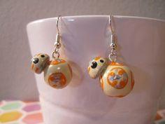Star Wars Inspired BB-8 Earrings  Handpainted clay by SakeBeGood