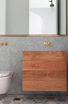 Tiles Mirror Gold Timber - 27 Minimalist Bathroom Design Ideas to Steal Laundry In Bathroom, Bathroom Renos, Bathroom Interior, Bathroom Ideas, Bathroom Grey, Bathroom Designs, Bathroom Tiling, Handicap Bathroom, Bathroom Fixtures