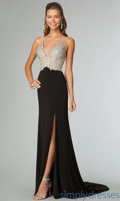 Dress, Floor Length Sleeveless V-Neck Prom Dress - SimplyDresses