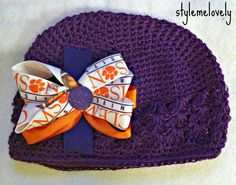 Clemson University Baby Girl Boutique Bow Crocheted Hat