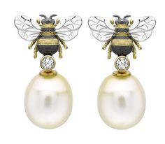 Theo Fennell yellow gold, diamond and pink freshwater pearl Bee Drop earrings (£2,850).
