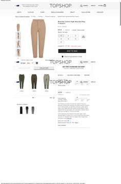 Topshop is the only online clothing retailer I know that offers a review service. Someone's review on there has once helped me find some pants which fit perfectly. It is this experience that inspired me to think there should be reviews for every clothing item that can be ordered online. (source: http://www.topshop.com/en/tsuk/product/clothing-427/trousers-leggings-4075710/washed-cotton-high-waisted-peg-trousers-4101550?)