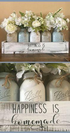 Happiness is homemade - YEP!! I really like these muted colors!!! mason jar centerpiece, farmhouse decor, mason jar farmhouse, wedding decor, mason jar decor, mason jar table decor, rustic home decor, rustic decor, wedding gift idea #ad #weddingdecoration