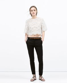 These trousers have a comfortable slim fit. A trim tan is belt is included. Trouser Pants, Trousers Women, Style Matters, Capsule Outfits, Vogue, Zara United States, Work Wear, Black Jeans, Normcore